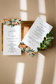 CALLIOPE | Watercolor Orange Blossom Printable Wedding Program Template