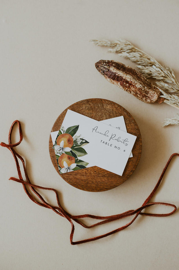 CALLIOPE | Watercolor Orange Blossom Wedding Place Card Template