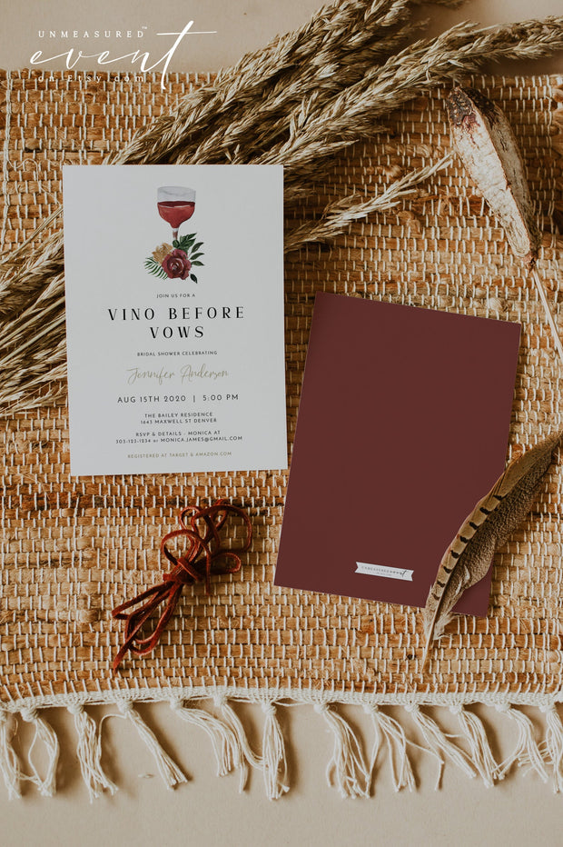 DEMI | Vino Before Vows Napa Winery Bridal Shower Invitation Template
