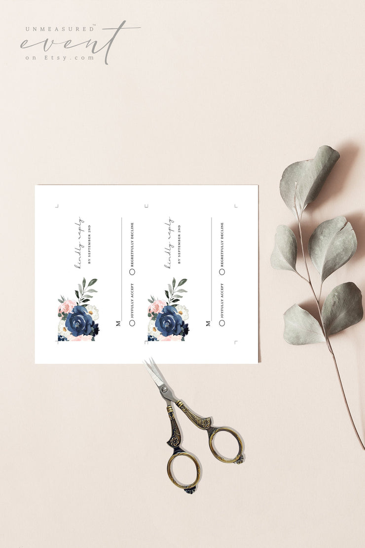 CADENCE | Navy and Blush Floral Wedding Invitation Template Suite