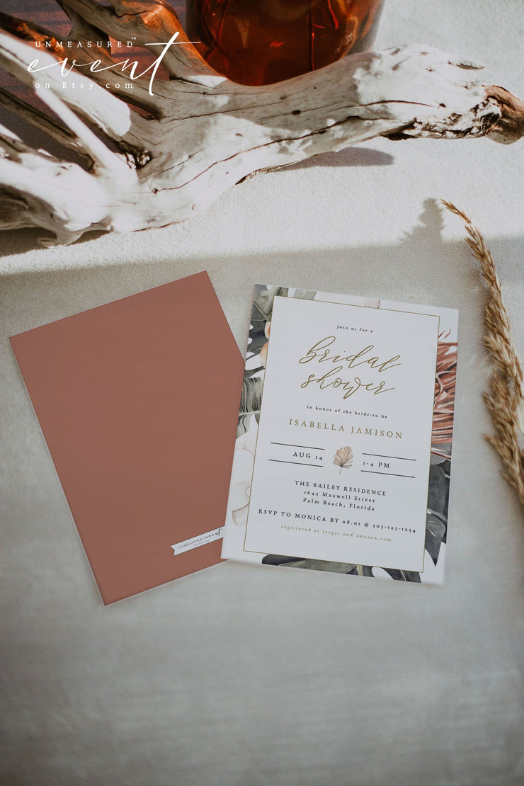 KINSLEY | Terracotta Tropical Bohemian Bridal Shower Invitation Template