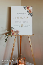 KINSLEY | Terracotta Tropical Bohemian Bridal Shower Welcome Sign Template