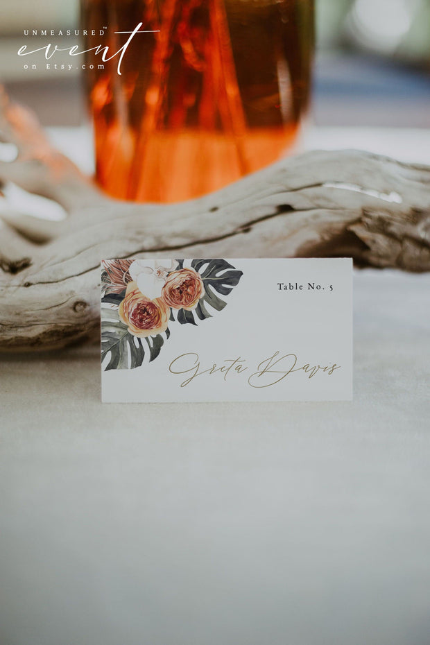 KINSLEY | Terracotta Tropical Bohemian Printable Place Card Template