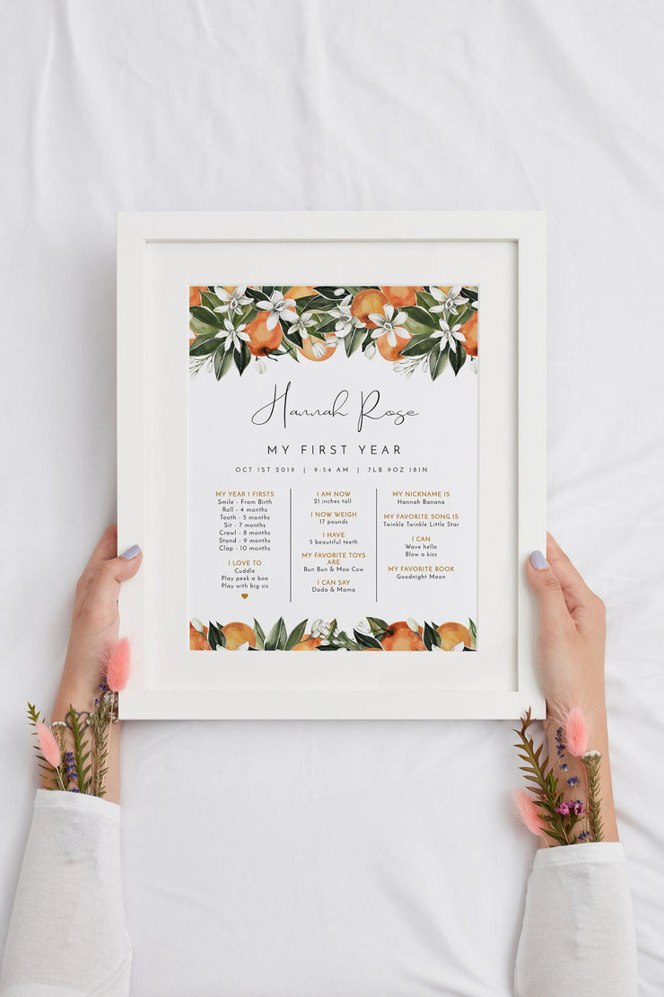 CALLIOPE | Watercolor Orange Blossom First Birthday Milestone Board Template