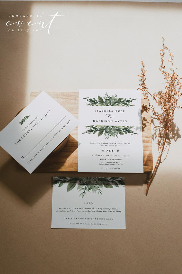 Lana - Modern Greenery Wedding Invitation Suite Templates