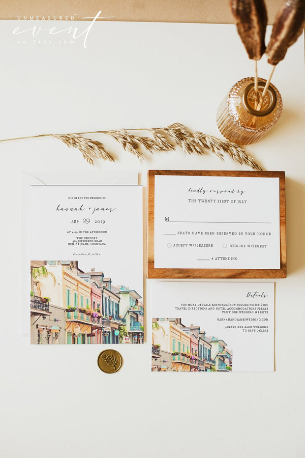 NOLA | Watercolor New Orleans Bourbon Street Wedding Invitation Template Suite