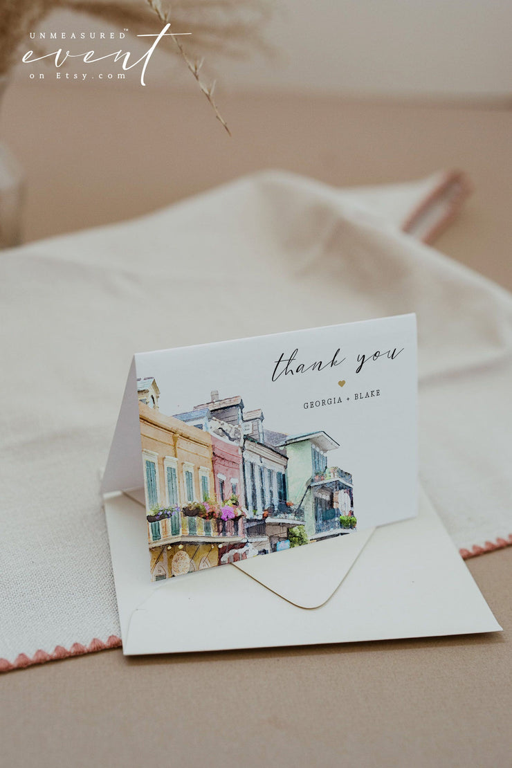 NOLA | Watercolor New Orleans French Quarter Printable Thank You Card Template