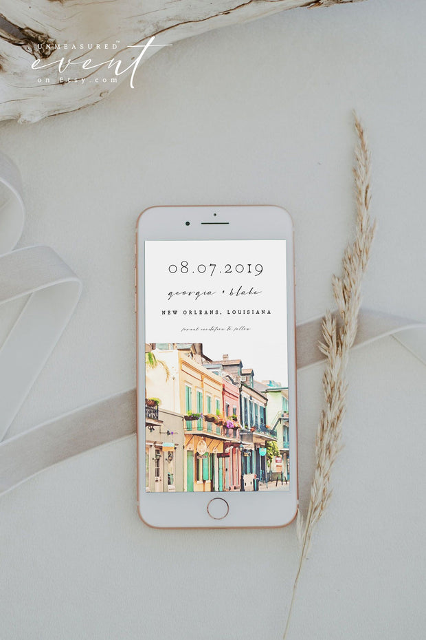 NOLA | Watercolor New Orleans French Quarter Text Save the Date Template