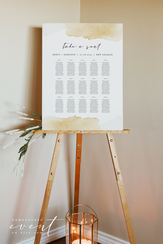 NOLA | Yellow Watercolor Splash Printable Seating Chart Template
