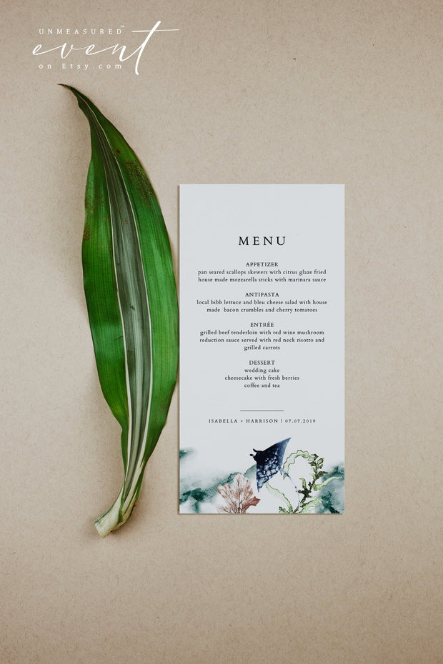 ARIEL | Ocean Manta Ray Tropical Wedding Invitation Template Bundle