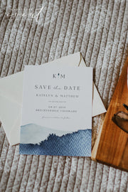 ZURI | Slate Blue Watercolor Mountain Wedding Save the Date Template