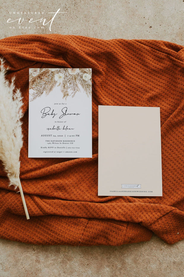 CIERA | Bohemian Dry Pampas Grass Printable Baby Shower InvitationTemplate
