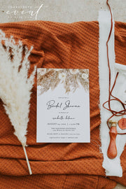 CIERA | Bohemian Dry Pampas Grass Printable Bridal Shower InvitationTemplate