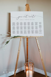 ASHER | Minimalist Calligraphy Wedding Landscape Table Seating Chart Template