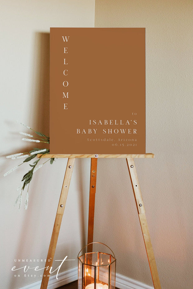 MIA | Modern Bohemian Burnt Orange Printable Baby Shower Welcome Sign Template
