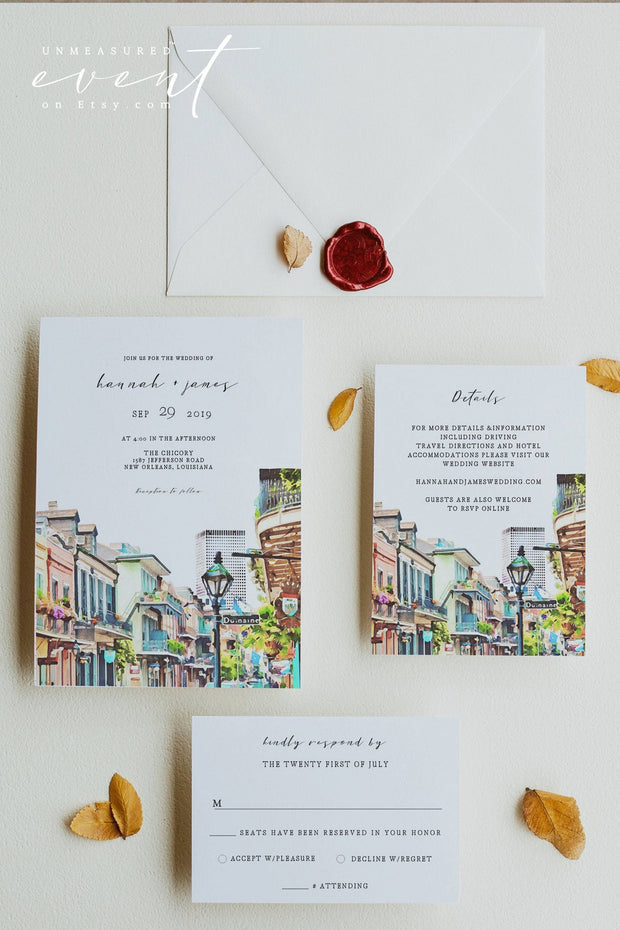 NOLA | Watercolor New Orleans French Quarter Printable Wedding Invitation Template Suite