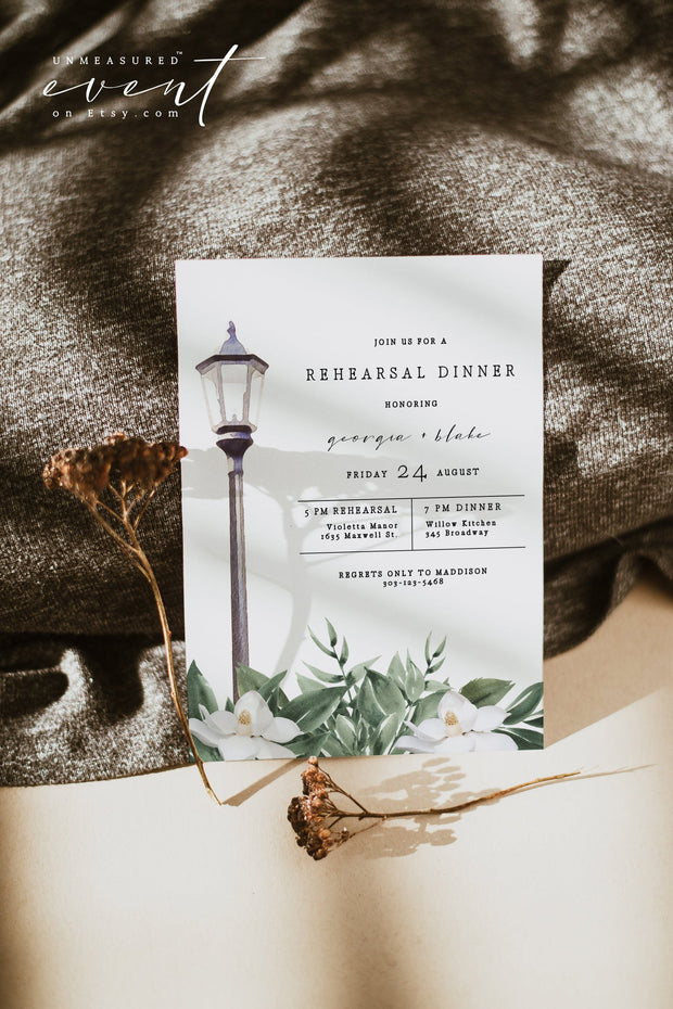 NOLA | Watercolor Magnolia New Orleans Bourbon Street Inspired Printable Rehearsal Dinner Invitation Template