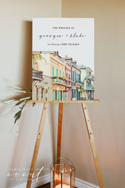 NOLA | Watercolor New Orleans French Quarter Printable Wedding Welcome Sign Template
