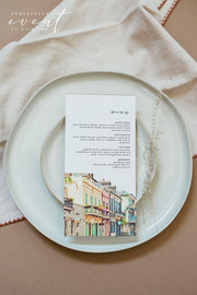 NOLA | Watercolor New Orleans French Quarter Printable Menu Template