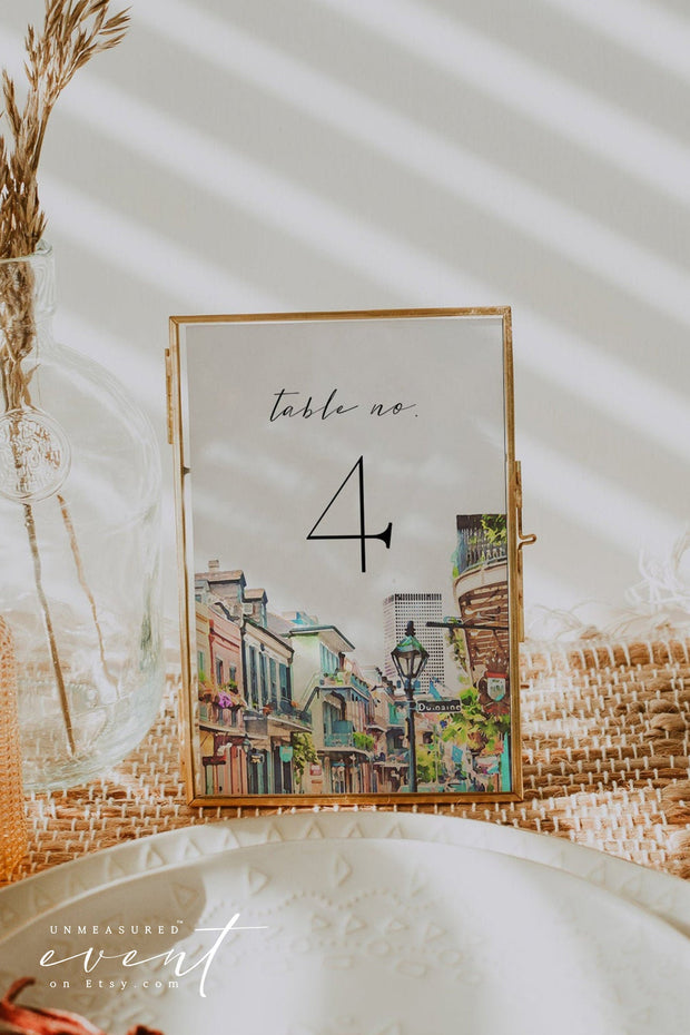 NOLA | Watercolor New Orleans French Quarter Printable Table Number Template