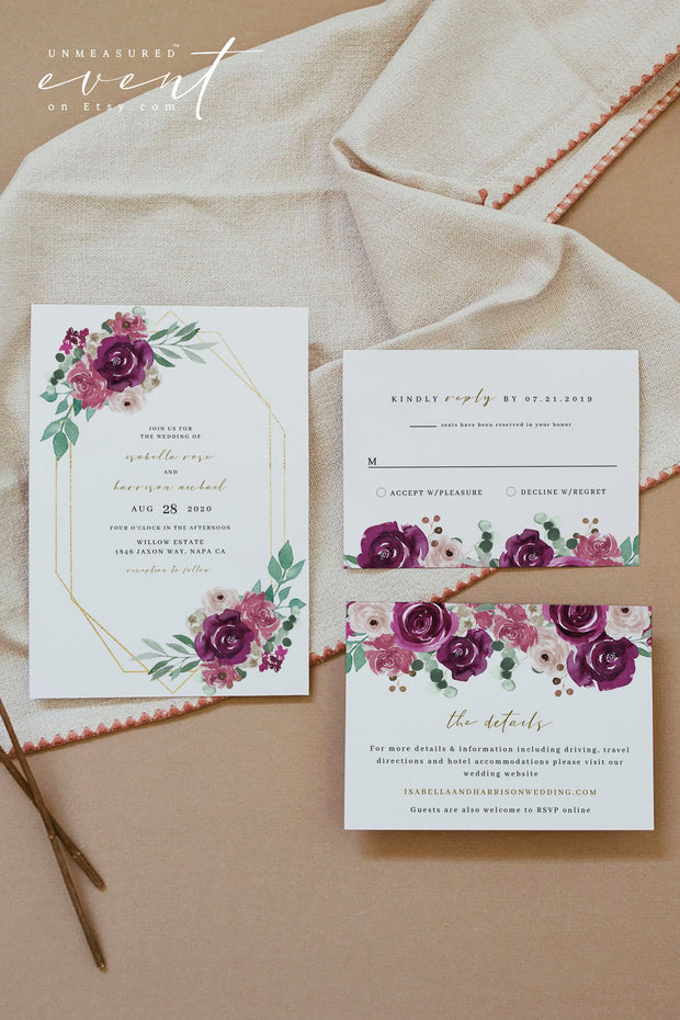GWEN | Elegant Magenta and Blush Floral Wedding Invitation Template Suite