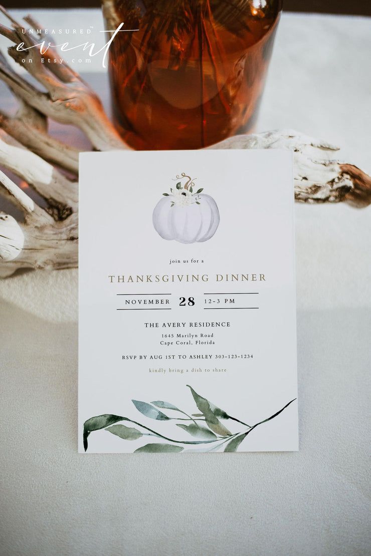 TERA | Watercolor White Pumpkin and Greenery Printable Thanksgiving Invitation Template
