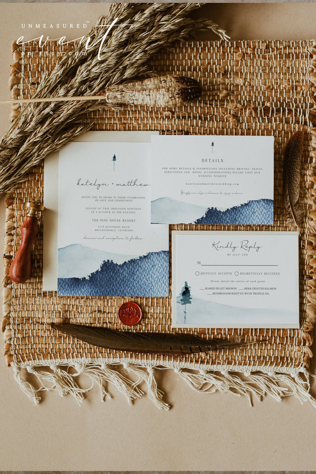 ZURI | Slate Blue Watercolor Mountain Printable Wedding Invitation Template Bundle