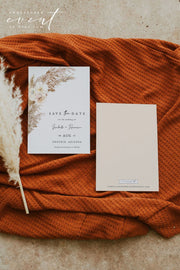 CIERA | Bohemian Dry Pampas Grass Printable Save the Date Template