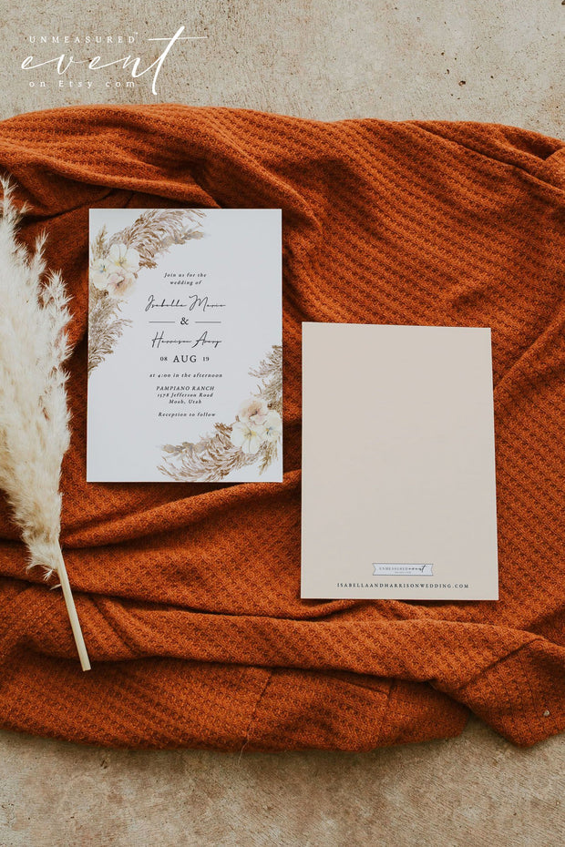 CIERA | Bohemian Dry Pampas Grass Printable Wedding Invitation Template Suite