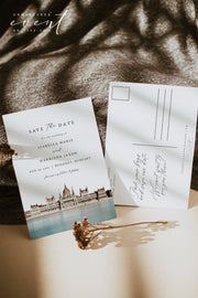 Watercolor Budapest Skyline Printable Wedding Save the Date Template