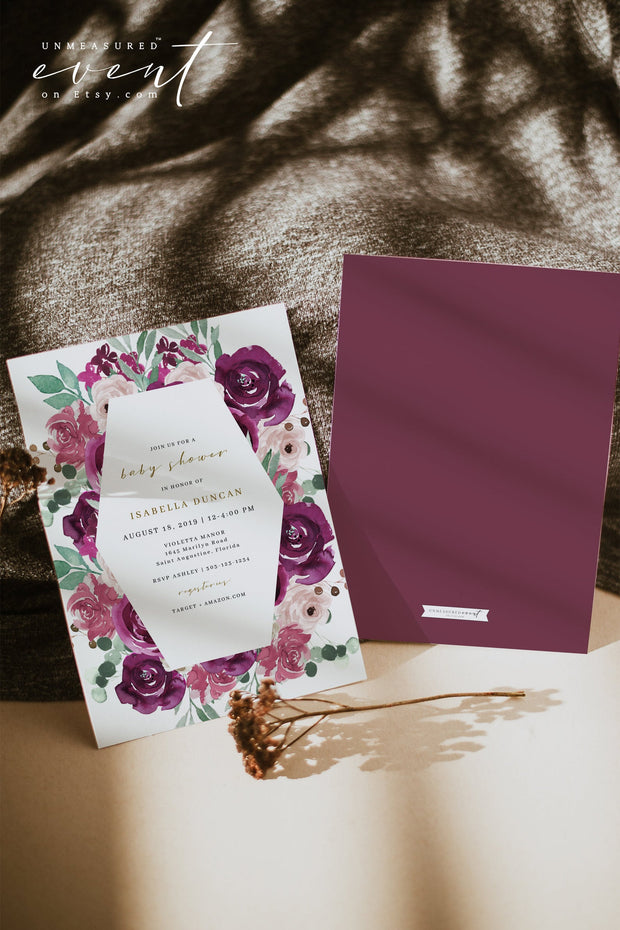 GWEN | Elegant Magenta and Blush Floral Baby Shower Invitation Template Suite