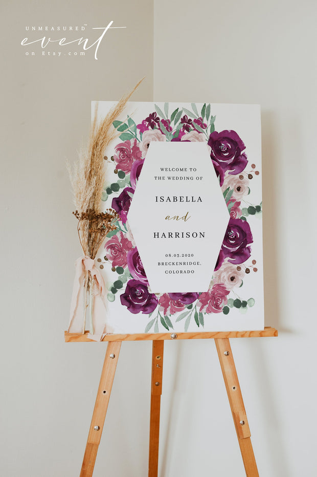 GWEN | Elegant Magenta and Blush Floral Wedding Invitation Template Bundle