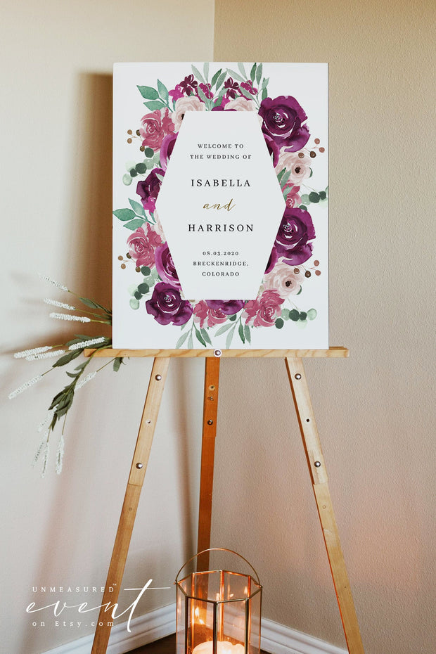 GWEN | Elegant Magenta and Blush Floral Printable Wedding Welcome Sign Template