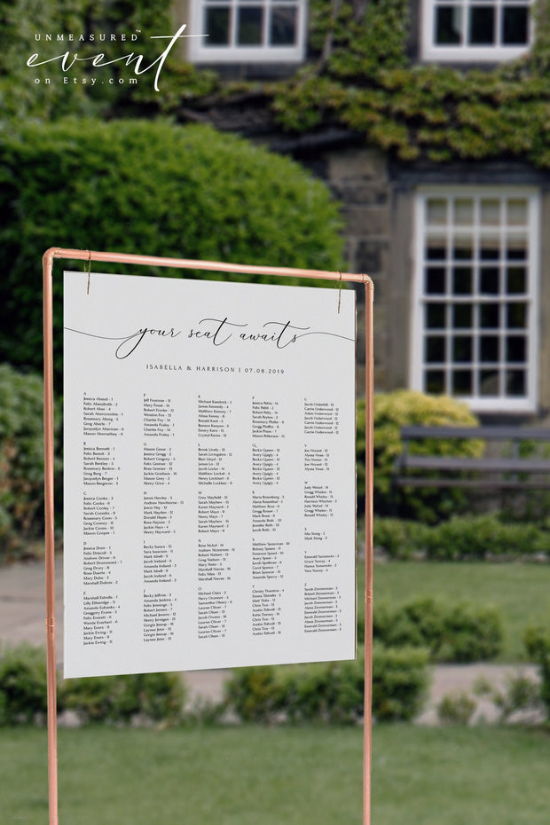ASHER | Minimalist Calligraphy Wedding Alphabetical Seating Chart Template