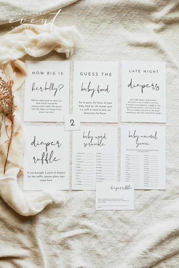 ADELLA |  Modern Minimalist Printable Baby Shower Game Templates
