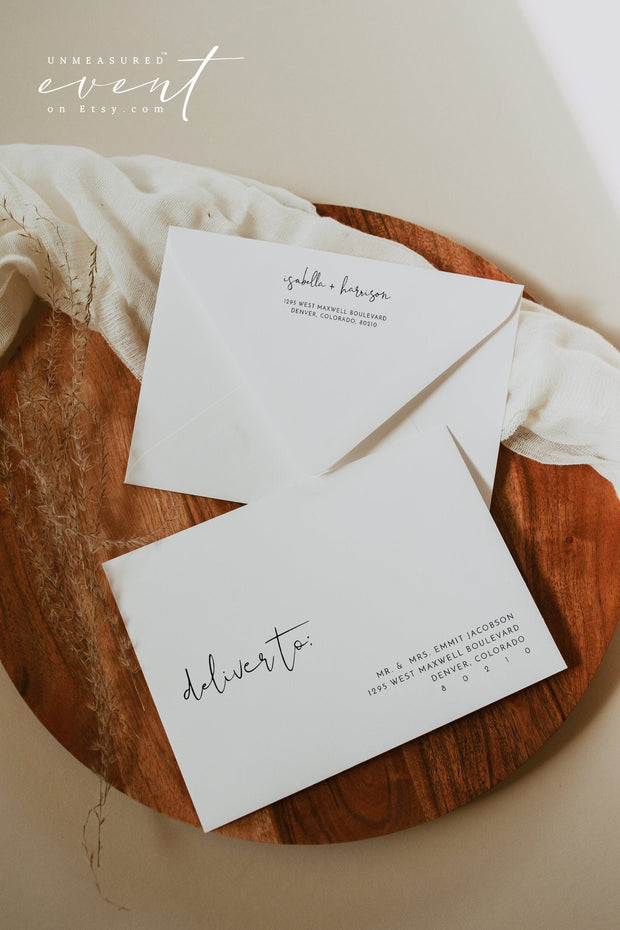 ADELLA Modern Minimalist Printable Wedding Envelope Addressing Template