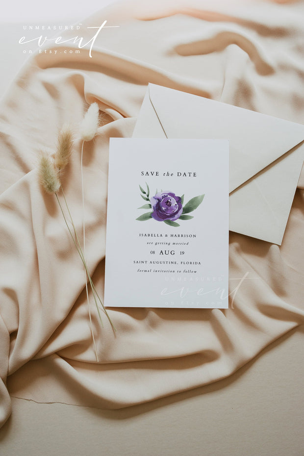Lilah - Purple Lavender Floral Wedding Invitation Template Bundle