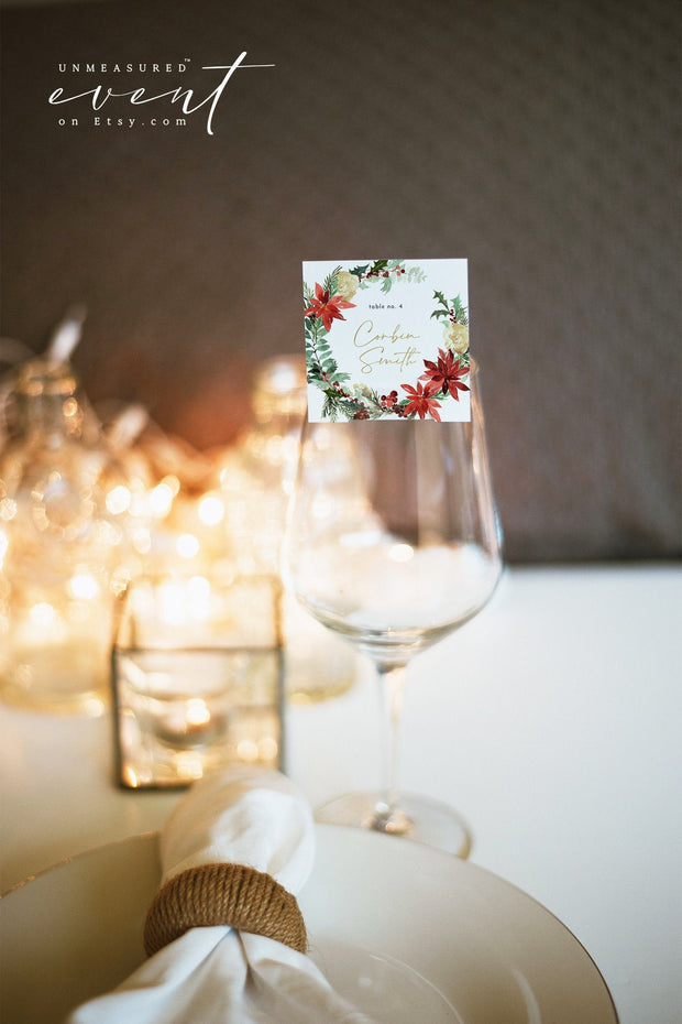 JOY | Festive Christmas Holiday Wedding Square Place Card Template