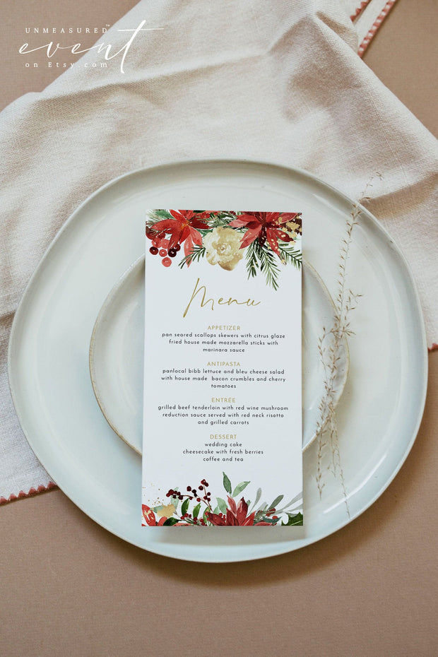 JOY | Festive Christmas Holiday Wedding Printable Dinner Menu Template