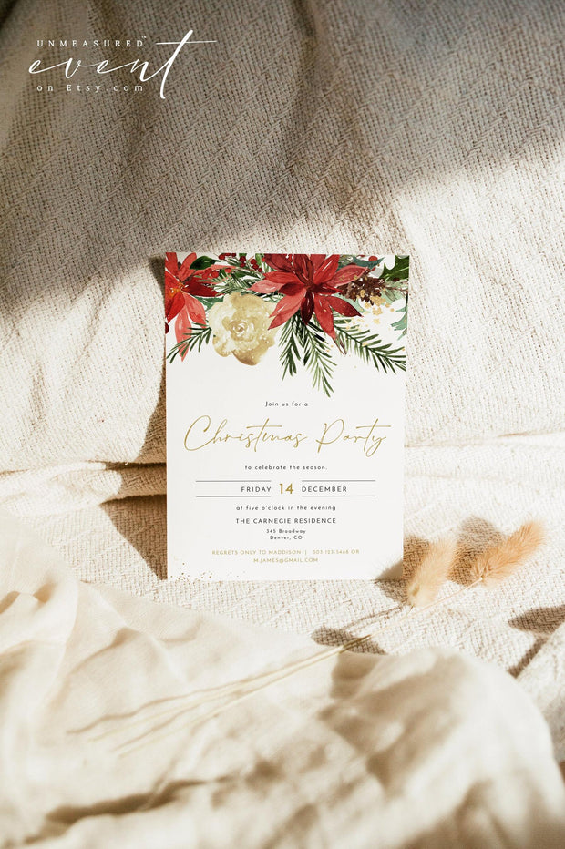JOY | Festive Christmas Poinsettia Printable Holiday Party Invitation Template