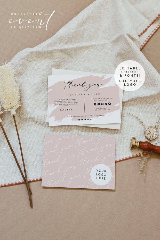 GRETCHEN Editable Blush Splash Small Business Thank You Insert Template
