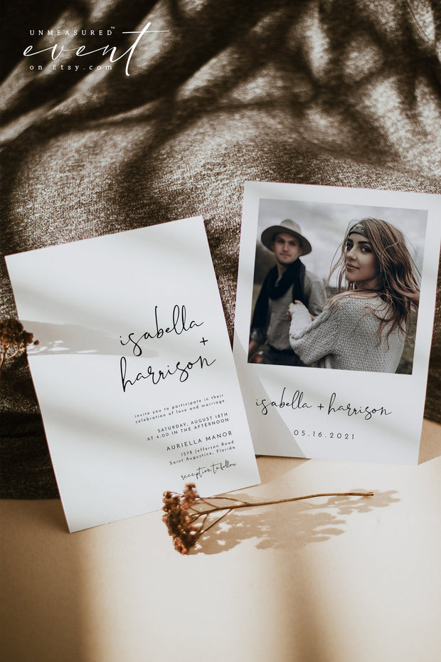 ADELLA | Modern Minimalist Wedding Invitation Template