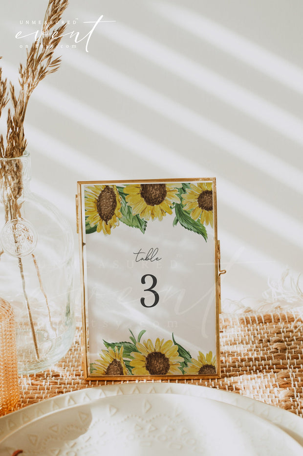 EMMA Rustic Watercolor Sunflower Printable Wedding Invitation Template Bundle