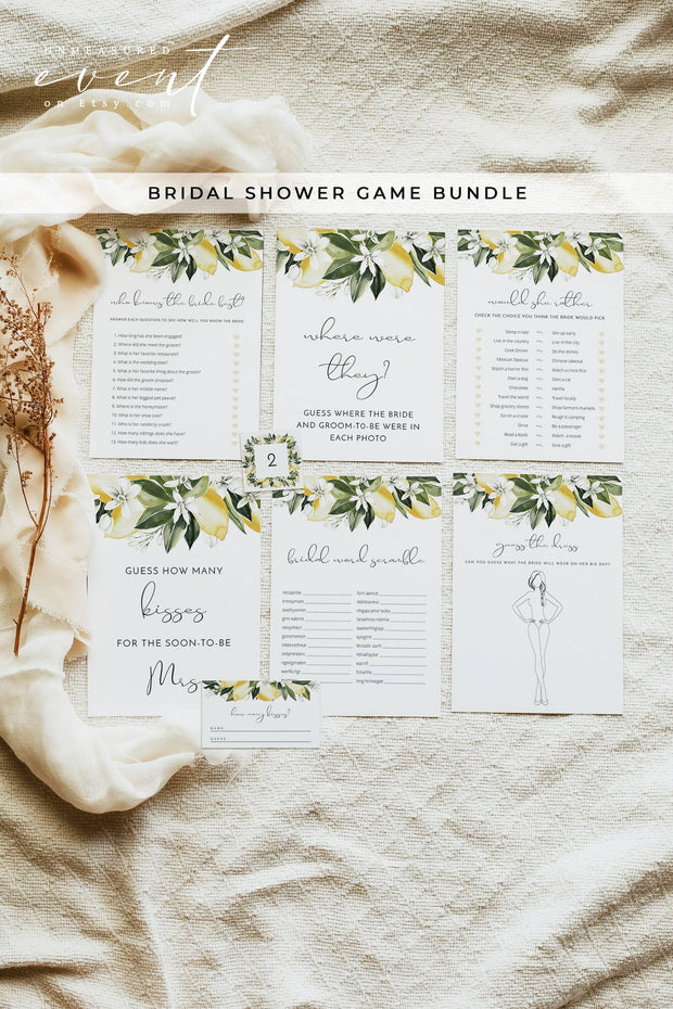 DAHLIA Watercolor Lemons Bridal Shower Games Printable Template Bundle