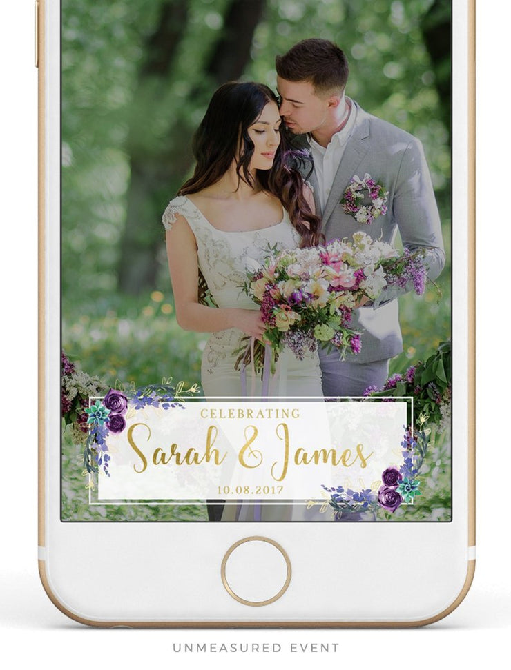 OLIVIA | Purple Floral and Succulent Wedding Snapchat Geofilter Template