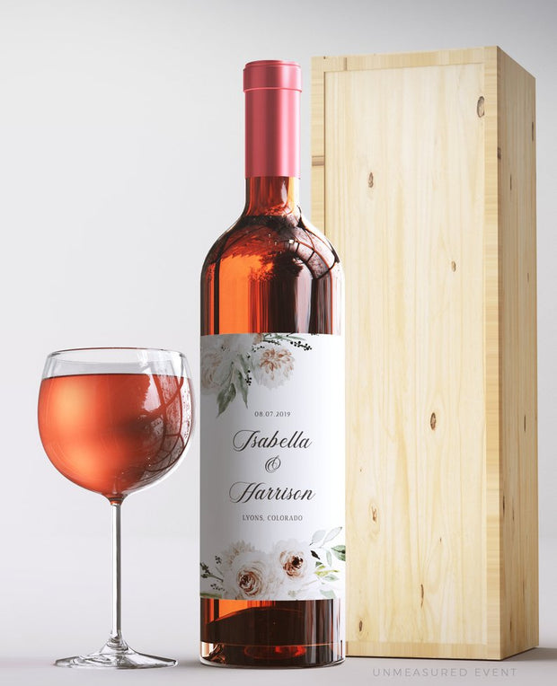 Robyn - Blush Floral Wine Label Template - Unmeasured Events
