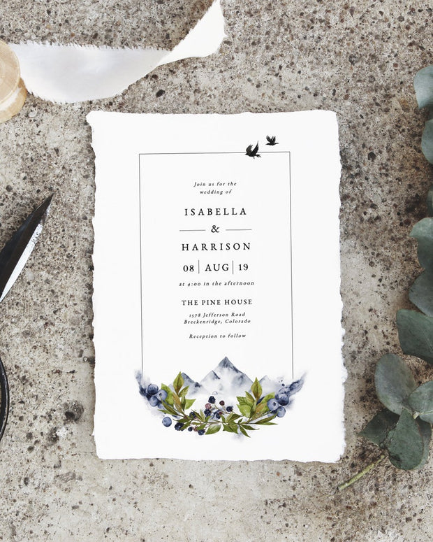 Sierra - Boho Mountain Wedding Invitation Template Suite
