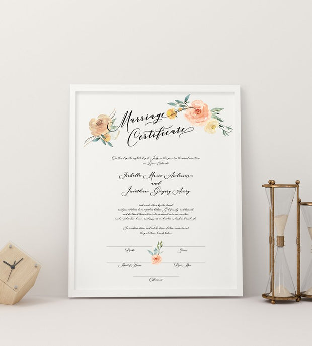 Sloane - Peachy Floral Marriage Certificate Template