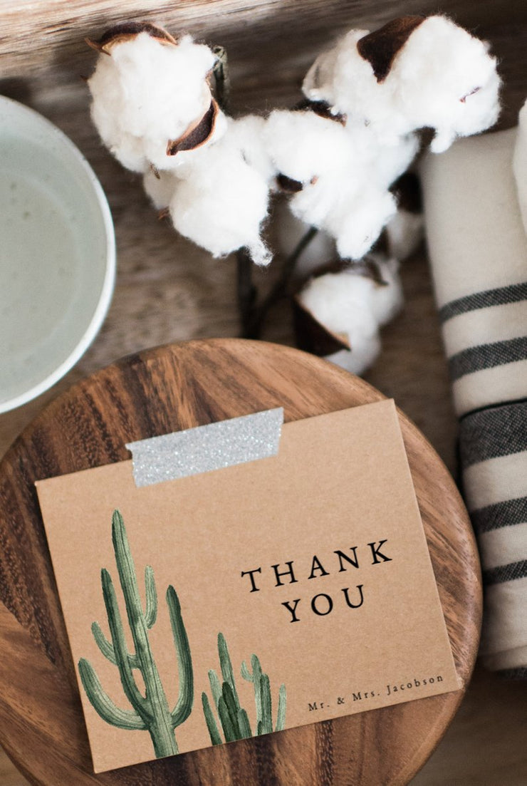 Eleanor - Bohemian Cactus Wedding Thank You Card Template - Unmeasured Events