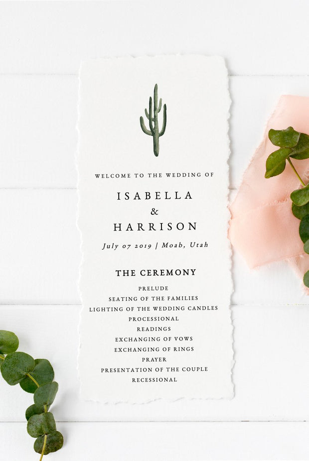 Eleanor - Bohemian Cactus Wedding Program Template - Unmeasured Events
